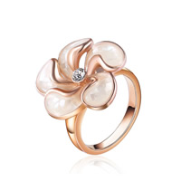 Кольца из полимерной смолы, цинковый сплав, с канифоль, Форма цветка, плакированный цветом розового золота, различный внутренний диаметр по выбору & Женский & со стразами, не содержит свинец и кадмий, 21x21mm, продается PC