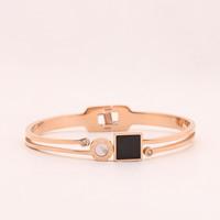 титан браслет на запястье/щиколотку, с Белая ракушка, плакированный цветом розового золота, Женский & эмаль, 10-12mm, внутренний диаметр:Приблизительно 55mm, длина:Приблизительно 6.5 дюймовый, продается PC