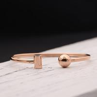 титан браслет-манжеты, плакированный цветом розового золота, Женский, 8-10mm, внутренний диаметр:Приблизительно 60mm, длина:Приблизительно 7 дюймовый, продается PC