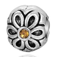 цинковые бусины Европейская стиль, цинковый сплав, Цилиндрическая форма, плакированный цветом под старое серебро, без Тролль & со стразами, не содержит свинец и кадмий, 5-10mm, отверстие:Приблизительно 4-5mm, 20ПК/сумка, продается сумка