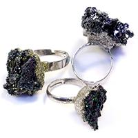 Кольца с камнями, Декор-камень радужный, с Латунь, Платиновое покрытие платиновым цвет, 15-25x19-36mm, размер:7, 5ПК/Лот, продается Лот