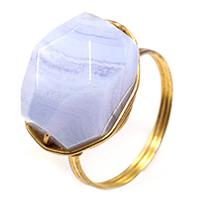 фиолетовый агат Кольцо, с Латунь, плакирован золотом, крашеный & природный & Женский, 17x12mm, размер:7, 5ПК/Лот, продается Лот