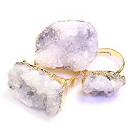 Ледниковый кварц-агат Открыть палец кольцо, с Латунь, плакирован золотом, крашеный & природный & druzy стиль & Женский & разнообразный, 18-27x11-21mm, размер:7, 5ПК/Лот, продается Лот
