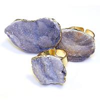 Открыть палец кольцо, с Латунь, плакирован золотом, крашеный & природный & druzy стиль & Женский & разнообразный, 24-36x18-25mm, размер:7, 5ПК/Лот, продается Лот