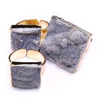 Открыть палец кольцо, с Латунь, плакирован золотом, крашеный & природный & druzy стиль & Женский & разнообразный, 15-23x14-23mm, размер:7, 5ПК/Лот, продается Лот