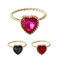 Кольца с кристаллами, цинковый сплав, с Кристаллы, Сердце, плакирован золотом, Женский & граненый, Много цветов для выбора, не содержит никель, свинец, размер:6.5, продается PC