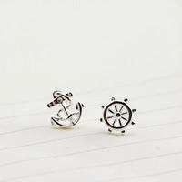 Асимметричные серьги, Латунь, Якорь и корабль колесо, плакированный настоящим серебром, морской узор, не содержит никель, свинец, 7.5mm, 8mm, продается Пара
