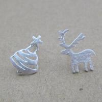 Асимметричные серьги, Серебро 925 пробы, Рождественские украшения & Матовый металлический эффект, 12x8.5mm, продается Пара