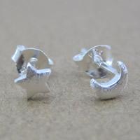 Асимметричные серьги, Серебро 925 пробы, Луна и звезды, Матовый металлический эффект, 3x3mm, продается Пара