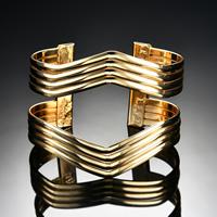 Железо браслет-манжеты, плакирован золотом, Женский, не содержит свинец и кадмий, 70x57mm, внутренний диаметр:Приблизительно 70mm, длина:Приблизительно 8.5 дюймовый, продается PC