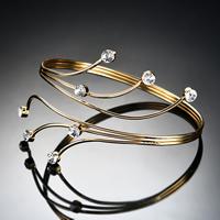 Железо браслет-манжеты, плакирован золотом, Женский & со стразами, не содержит свинец и кадмий, 90x70mm, внутренний диаметр:Приблизительно 90mm, длина:Приблизительно 11 дюймовый, продается PC