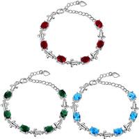 Кристалл браслеты, Латунь, с Кристаллы, с 2Inch наполнитель цепи, плакированный настоящим серебром, Женский & граненый, Много цветов для выбора, не содержит никель, свинец, Продан через Приблизительно 8 дюймовый Strand