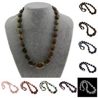 Ожерелья из драгоценных камней, Полудрагоценный камень, Комкообразная форма, различные материалы для выбора, 10x12mm-17x25mm, Продан через Приблизительно 17.5 дюймовый Strand