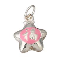 Кулоны из серебра, Серебро 925 пробы, Звезда, эмаль, 11x13x7mm, отверстие:Приблизительно 4.5mm, 10ПК/Лот, продается Лот