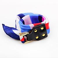 Полиэстер браслет, с Шнур из натуральной кожи & цинковый сплав, Платиновое покрытие платиновым цвет, Женский & двунитевая, разноцветный, 25mm, Продан через Приблизительно 16.5 дюймовый Strand