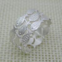 Cеребряное кольцо, Серебро 925 пробы, Рыба, Матовый металлический эффект & Женский, 5-10mm, размер:6-8, продается PC
