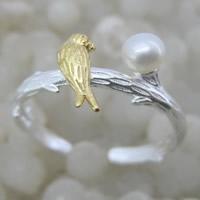 Серебро 925 пробы Манжеты палец кольцо, с Пресноводные жемчуги, Птица, Другое покрытие, Матовый металлический эффект & Женский & двухцветный, 9x4mm, размер:6-8, продается PC