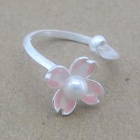 Серебро 925 пробы Манжеты палец кольцо, с Пресноводные жемчуги, Форма цветка, Женский, 5-8mm, размер:6-8, продается PC