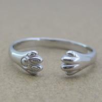 Серебро 925 пробы Манжеты палец кольцо, Следы, Женский, 3-5mm, размер:6-8, продается PC