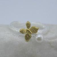 Серебро 925 пробы Манжеты палец кольцо, бабочка, Другое покрытие, Матовый металлический эффект & Женский & двухцветный, 8x6mm, размер:6-8, продается PC