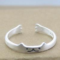 Серебро 925 пробы Манжеты палец кольцо, Матовый металлический эффект & Женский, 3-5mm, размер:6-8, продается PC
