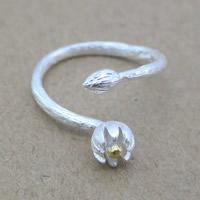 Серебро 925 пробы Манжеты палец кольцо, Lotus, Другое покрытие, Матовый металлический эффект & Женский & двухцветный, 3x3mm, размер:6-8, продается PC