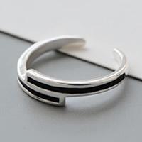 Серебро 925 пробы Манжеты палец кольцо, покрыт лаком, Женский, 2-3mm, размер:6-8, продается PC