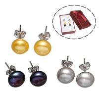 Серьги из жемчуга, Латунь, с Бумажная коробка & Пресноводные жемчуги, Платиновое покрытие платиновым цвет, разноцветный, не содержит никель, свинец, 8-9mm, 3Пары/Box, продается Box