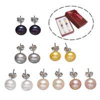 Серьги из жемчуга, Латунь, с Бумажная коробка & Пресноводные жемчуги, Платиновое покрытие платиновым цвет, разноцветный, не содержит никель, свинец, 8-9mm, 6Пары/Box, продается Box