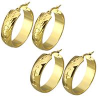 Мужская нержавеющей стали обруч серьги, нержавеющая сталь, плакирован золотом, цветочный отрез & различные модели для выбора & Женский, 8x31mm, 5Пары/Лот, продается Лот