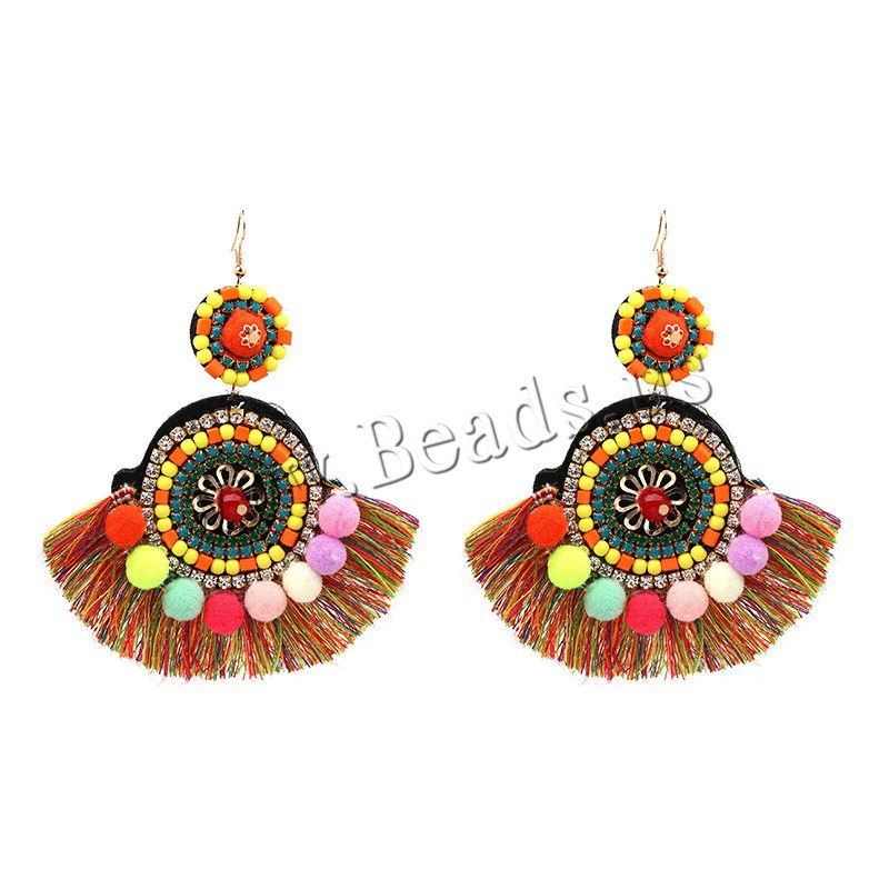 Buy Cubic Zircon (CZ) Drop Earring Zinc Alloy Cubic Zirconia & Nylon Cord & Glass Seed Beads iron earring hook gold color plated woman lead & cadmium free 115x95mm Sold Pair