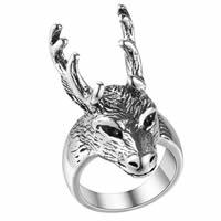Кольца из латуни, Латунь, Оленьи рога, плакированный цветом под старое серебро, Мужская, не содержит никель, свинец, размер:8, продается PC