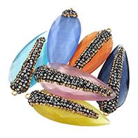 Подвески из кристаллов, Кристаллы, с клей, плакирован золотом, граненый, много цветов для вабора, 17x44x8mm, отверстие:Приблизительно 2mm, 10ПК/сумка, продается сумка