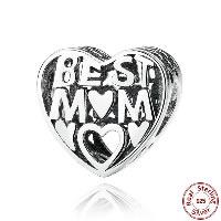 Таиланд бусины Европейская стиль, с органическое стекло, Сердце, Лучшая мама слово, День матери ювелирные изделия & отверстие, 10x10mm, отверстие:Приблизительно 4.5-5mm, продается PC