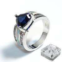 Кольца из латуни, Латунь, покрытый платиной, инкрустированное микро кубического циркония & Женский, не содержит никель, свинец, 11x10mm, продается PC