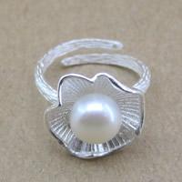 Серебро 925 пробы Манжеты палец кольцо, с Пресноводные жемчуги, Форма цветка, Матовый металлический эффект & Женский, 16-18mm, размер:6-8, продается PC