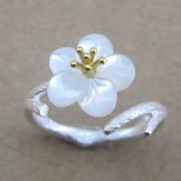 Серебро 925 пробы Манжеты палец кольцо, с Пресноводные оболочка, Форма цветка, Другое покрытие, Матовый металлический эффект & Женский & двухцветный, 16-18mm, размер:6-8, продается PC