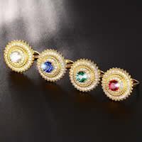 Кубик циркония в латуни, Латунь, Форма цветка, плакирован золотом, разный размер для выбора & Женский & с кубическим цирконием, Много цветов для выбора, не содержит никель, свинец, 22mm, продается PC