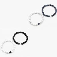 Пара браслет и браслет, лава, с Природная белая бирюза & Выцветший агат, разные стили для выбора, 8mm, длина:Приблизительно 7.5 дюймовый, продается Пара
