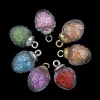 Кулон стеклянный глобус, Стеклянный, с Кристаллы & цинковый сплав, Платиновое покрытие платиновым цвет, Много цветов для выбора, 15x26mm, отверстие:Приблизительно 2mm, продается PC