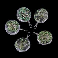 Кулон стеклянный глобус, Стеклянный, с Сухих цветов & цинковый сплав, Плоская круглая форма, Платиновое покрытие платиновым цвет, 20x30x18mm, отверстие:Приблизительно 3x4mm, продается PC