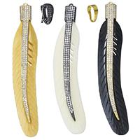 Синтетические цвета слоновой кости Кулон, Синтетические Цвет слоновой кости, с Латунь, Листок, Другое покрытие, разные стили для выбора & инкрустированное микро кубического циркония, Много цветов для выбора, 21x115x8mm, отверстие:Приблизительно 2mm, продается PC