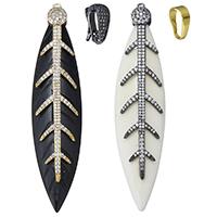 Синтетические цвета слоновой кости Кулон, Синтетические Цвет слоновой кости, с Латунь, Листок, Другое покрытие, разные стили для выбора & инкрустированное микро кубического циркония, Много цветов для выбора, 22x96x8mm, отверстие:Приблизительно 2mm, продается PC