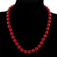 Киноварь Ожерелье, Круглая, разный размер для выбора & Женский, Продан через Приблизительно 17.5 дюймовый Strand