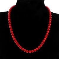 Коралловые ожерелья, Синтетический коралл, Круглая, разный размер для выбора & Женский, Продан через Приблизительно 17.5 дюймовый Strand