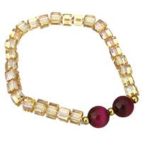 Кристалл браслеты, Кристаллы, с Агат, граненый, 11mm,6x6mm, Продан через Приблизительно 7 дюймовый Strand