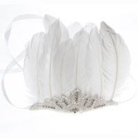 заставка, Сатиновая лента, с перья & Стеклянный бисер, со стразами, белый, Продан через Приблизительно 14 дюймовый Strand