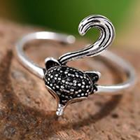 Латунь Манжеты палец кольцо, Животное, плакированный настоящим серебром, Женский, не содержит свинец и кадмий, 16-18mm, размер:6-8, продается PC