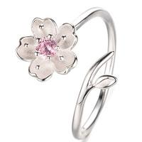 Латунь Манжеты палец кольцо, Восточные Черри, плакированный настоящим серебром, Женский, не содержит свинец и кадмий, 16-18mm, размер:6-8, продается PC