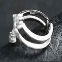 Латунь Манжеты палец кольцо, плакированный настоящим серебром, Женский, не содержит свинец и кадмий, 16-18mm, размер:6-8, продается PC